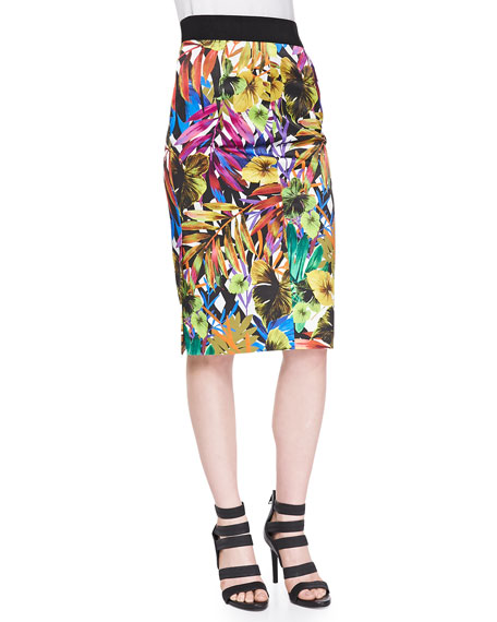 Tropical-Print Midi Skirt
