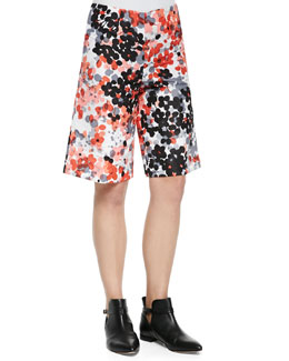 Abstract Flower-Print Walking Shorts