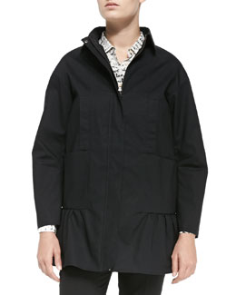 Mackintosh Anorak W/ Ruffled Hem