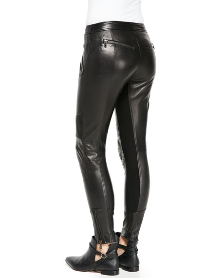 Flat-Front Leather Moto Pants