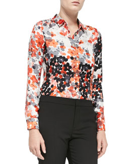 Long-Sleeve Abstract Flower Blouse