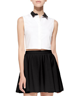 Contrast-Collar Cropped Sleeveless Blouse