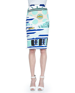 Mixed-Print Pencil Skirt