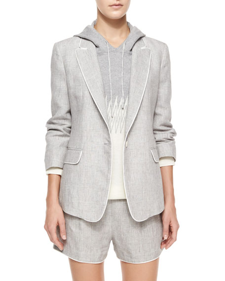 Band of Outsiders One-Button Linen Delave Jacket