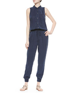 Avril Woven Crepe Jumpsuit, Dark Ink Blue