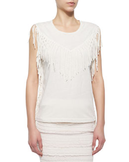 Gise Sleeveless Fringed Top, Ecru