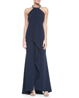 Beaded-Neck Toga Gown, Navy