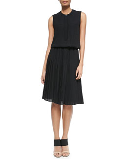 Pleated Chiffon A-Line Dress
