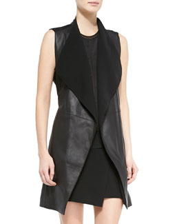 Leather/Ponte Draped Long Vest, Black