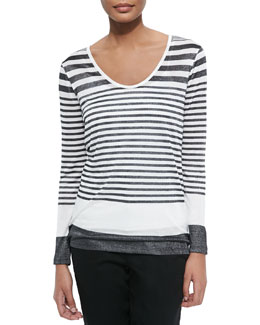 Variegated-Stripe Long-Sleeve Tee