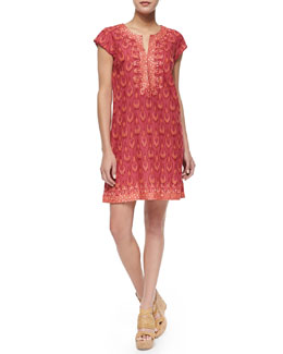 Short-Sleeve Ikat Printed Dress