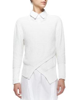 Eva Crewneck Asymmetric-Front Sweater