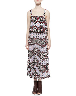 Luana Silk Geometric-Print Maxi Dress