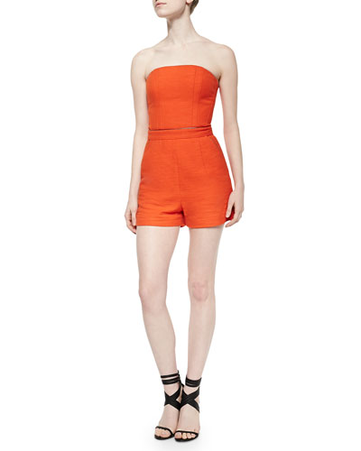 Strapless Romper with Metallic Piping