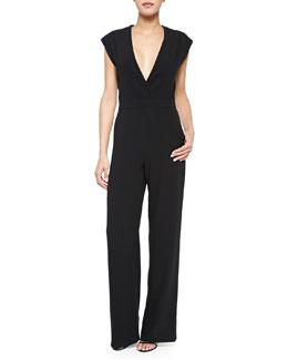 Patent Leather-Inset Cutout Kimono Jumpsuit, Black