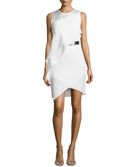 Asymmetric-Overlay Sheath Dress