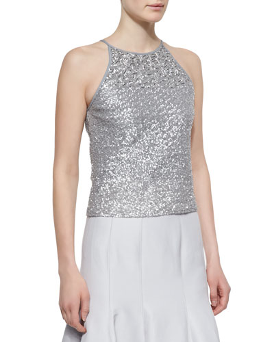 Sequined Halter-Style Tank