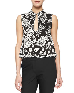 Kenzly Floral-Print Sleeveless Blouse