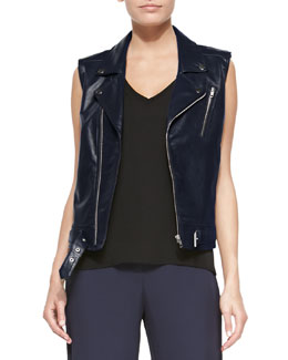 Samison Moto Leather Vest