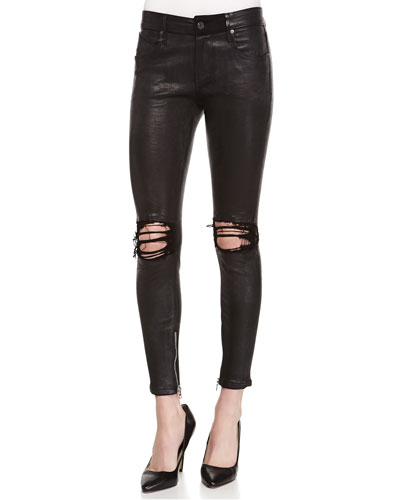 Dylan Exploded Distressed Leather Jeans