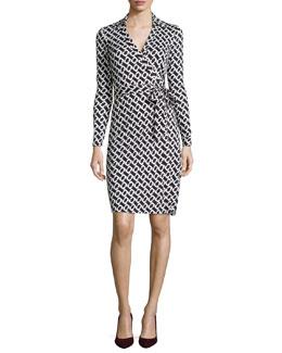 New Jeanne Chain-Link Jersey Wrap Dress