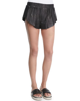 Goa Leather Pleated Shorts