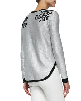 Metallic Woven Floral-Embroidered Sweatshirt