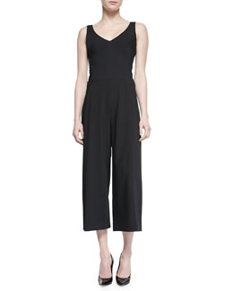 Cropped Wide-Leg Jumpsuit, Black
