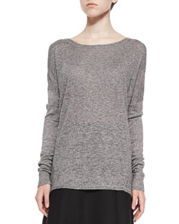 Textured Long-Sleeve Boat-Neck Top