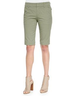 Buckle-Side Twill Bermuda Shorts
