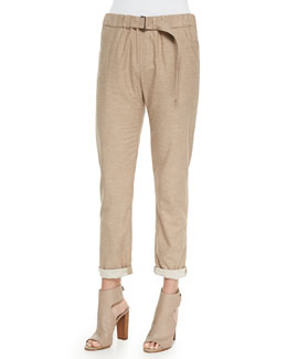 Belted Soft Knit Cuffed Pants