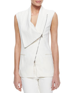 Asymmetric Draped Zip Vest