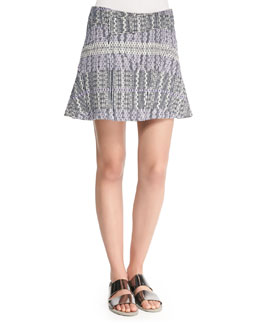 Patterned Asymmetric Flare Skirt