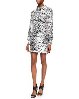 Toile/Solid Long-Sleeve Dress