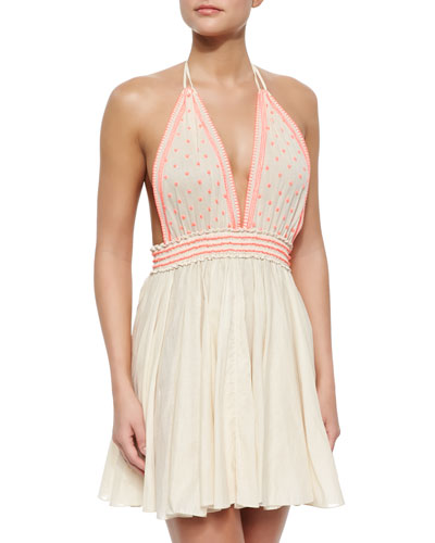 Bali Embroidered Linen Halter Dress