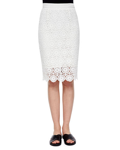 Scarlett Floral-Lace Pencil Skirt