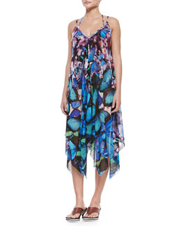 Butterfly-Print Sheer Coverup