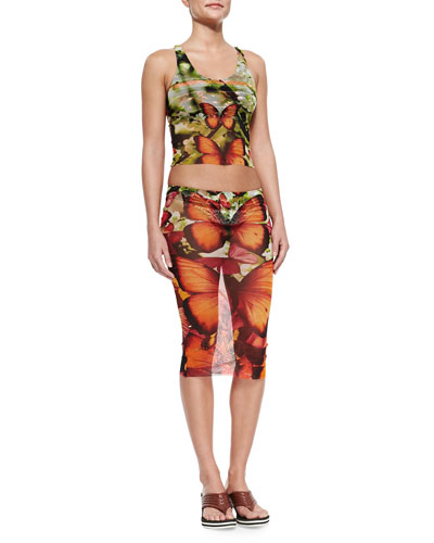 Butterfly-Print Skirted Two-Piece Swimsuit