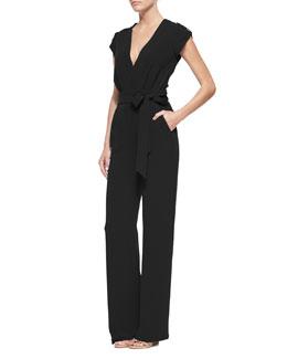 Purdy Tie-Waist Crepe Jumpsuit, Black