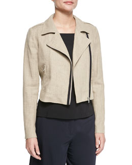 Sanda Flax Front-Zip Jacket