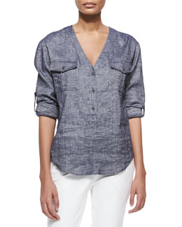 Trisalta Tab-Sleeve Chambray Top