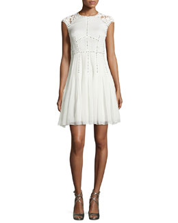 Lace and Nailhead Detailed Cap-Sleeve Dress