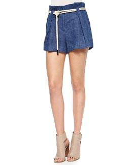 Paperbag-Waist Linen Shorts, Marine