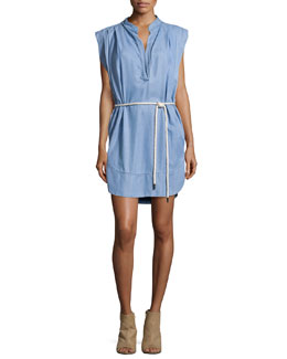 Sleeveless Twill Chambray Shirt Dress, Washed Indigo
