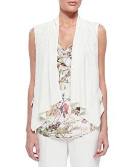 Lace-Inset Draped Crepe Vest