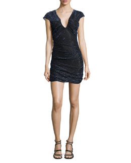 Hoxan Ruched Sheath Dress, Dark Blue