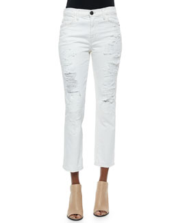 The High-Waist Distressed Straight Jeans