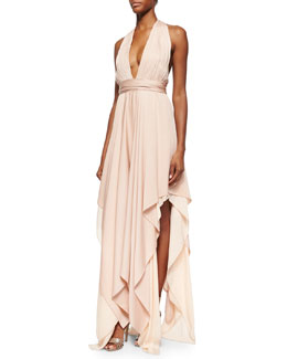 Lyndon Belted Deep-V Maxi Dress