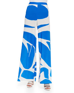 Printed Super-Flare Wide-Leg Pants