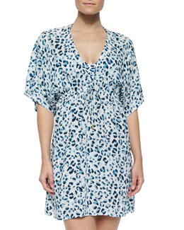 Sierra Printed Drawstring Tunic Coverup